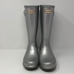 Hunter boots, silver, youth girls size 4